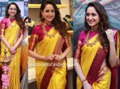 pragya jaiswal in yellow kanjeevaram saree at hiya jewellery showroom launch tirupathi