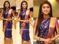 pranitha subhash blue pattu saree srinivasa shopping malla launch