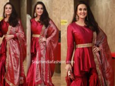 preity zinta in red sharara suit at ramesh taurani diwali party 2019 (1)