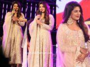 priyanka chopra pink anarkali sky is pink promotions falguni pathak show