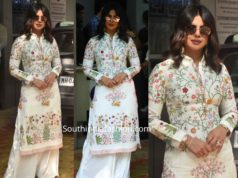priyanka chopra white embroidered kurta palazzo sky is pink promotions