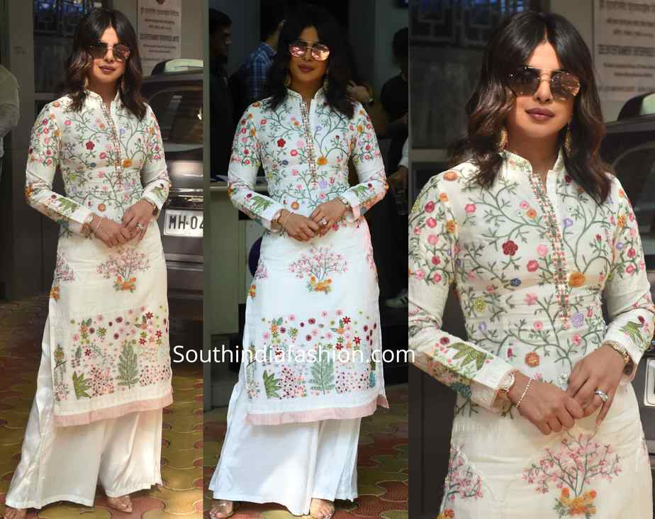 priyanka chopra white embroidered kurta palazzo sky is pink promotions