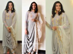pv sindhu grey anarkali by shyamal and bhumika