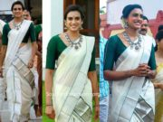 pv sindhu traditional saree
