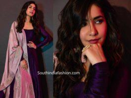 raashi khannna purple anarkali suit