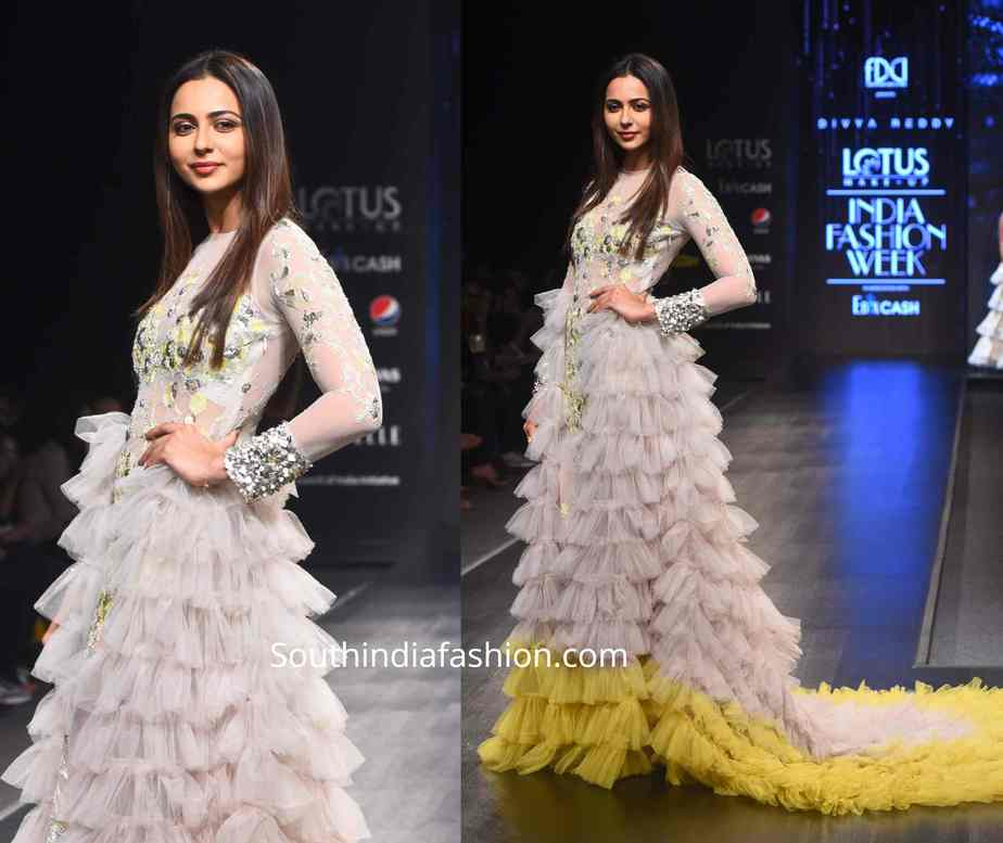 rakul preet singh ruffle gown by divya reddy at lotus india fashion week (1)