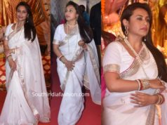 rani mukerji white silk saree at durga puja 2019