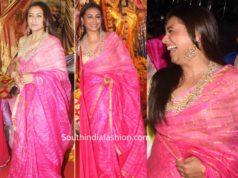 rani mukerji pink checkered saree at durga puja 2019