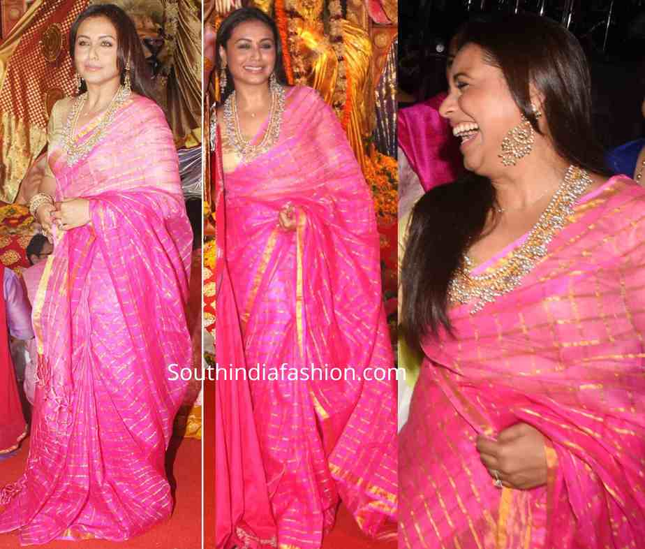 rani mukerji pink checkered saree at durga puja 2019