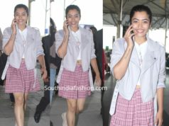 rashmika mandanna airport look mini skirt