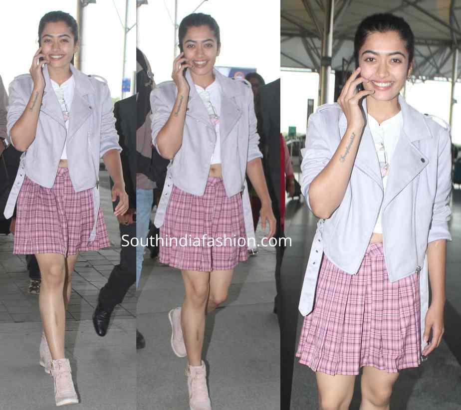 rashmika mandanna airport look mini skirt