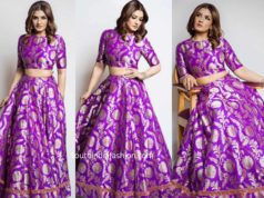 raveena tandon in purple legenga by raw mango