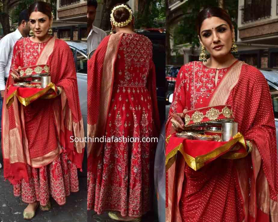 raveena tandon in red anarkali at karwa chauth celebrations 2019 (1)