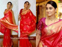 regina cassandra red silk saree