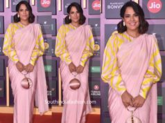 richa chaddha plain pink saree with striped blouse at mami