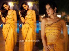 riya suman yellow saree santosham awards 2019