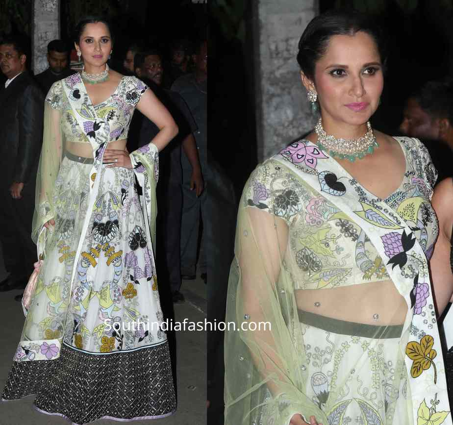 sania mirza white lehenga at bachchan diwali party 2019