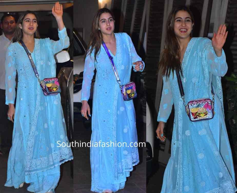 sara ali khan in blue chikankai suit