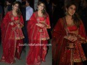 sara ali klhan in red salwar kameez at bachchan diwali party
