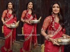 shilpa shetty in red saree at sunitha kapoor karwa chauth celebrations 2019 (1)