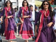 shilpa shetty purple pink kurta set