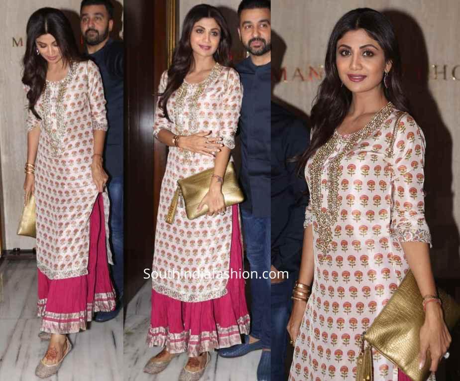 shilpa shetty sharara suit at manish malhotra diwali party 2019