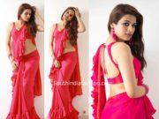 shraddha das pink ruffle saree