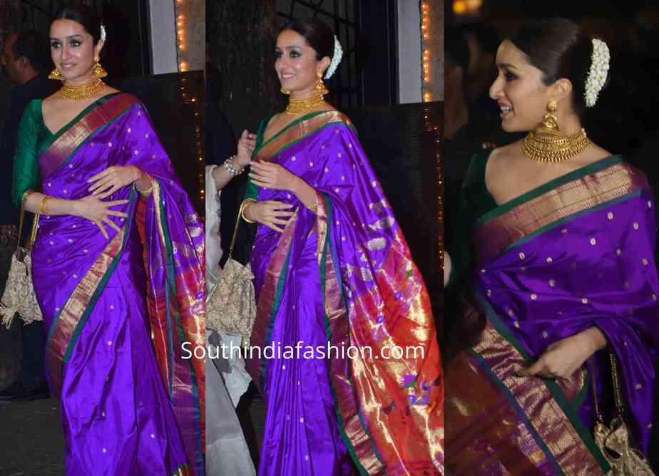 shraddha kapoor paithani saree at bachchan diwali party (1)
