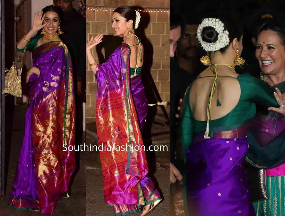 shraddha kapoor paithani saree at bachchan diwali party