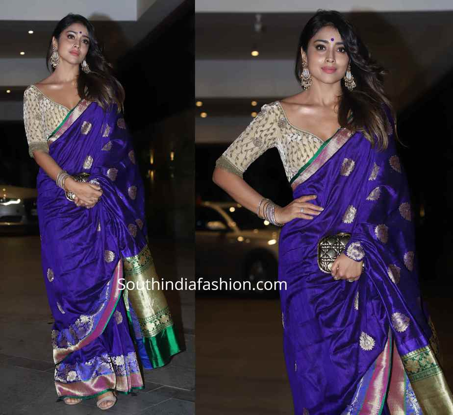 shriya saran banarasi silk saree at jackky bhagnani diwali party (1)