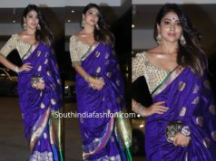 shriya saran purple banarasi silk saree at jackky bhagnani diwali party