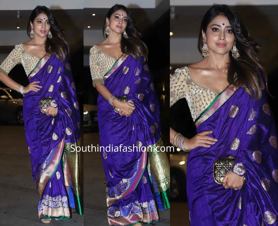 shriya saran purple banarasi silk saree at jackky bhagnani diwali party