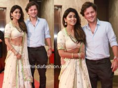 shriya saran with her husband at ramesh taurani diwali party