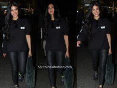 shruti haasan black dress airport