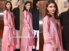 soha ali khan pink kurta set at ramesh taurani diwali party
