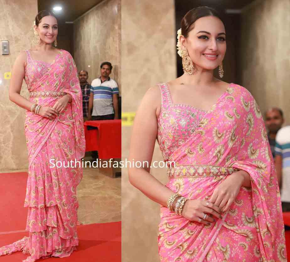 sonakshi sinha in pink saree at ramesh taurani diwali party 2019 (3)