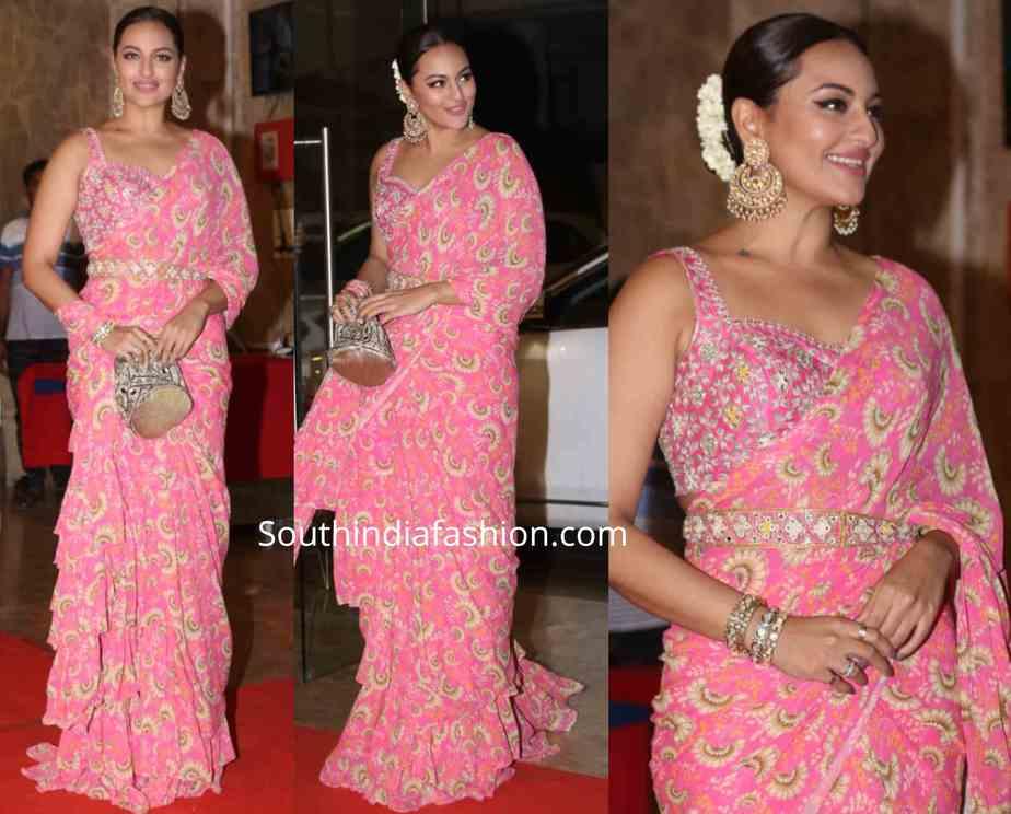 sonakshi sinha in pink saree at ramesh taurani diwali party 2019 (1)
