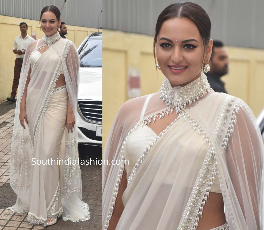 sonakshi sinha white saree with cape dabaang 3 trailer launch
