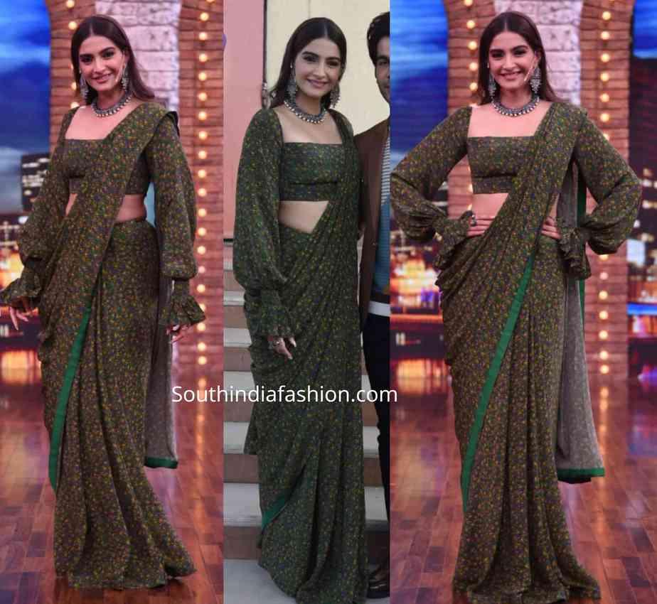 sonam kapoor green saree with balloon sleeves blouse for 'Movie Masti with Manish Paul'