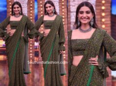 sonam kapoor green saree with balloon sleeves blouse (1)