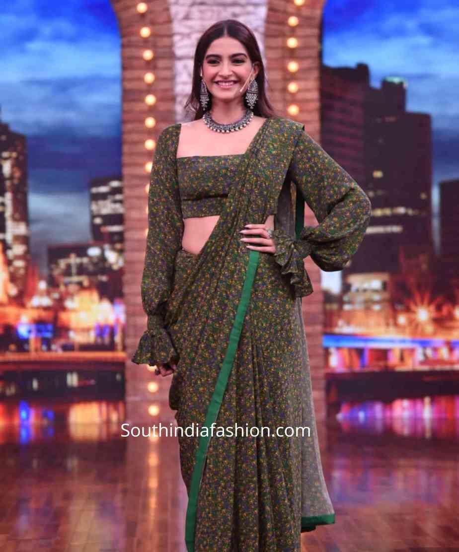 sonam kapoor green saree with balloon sleeves blouse (3)