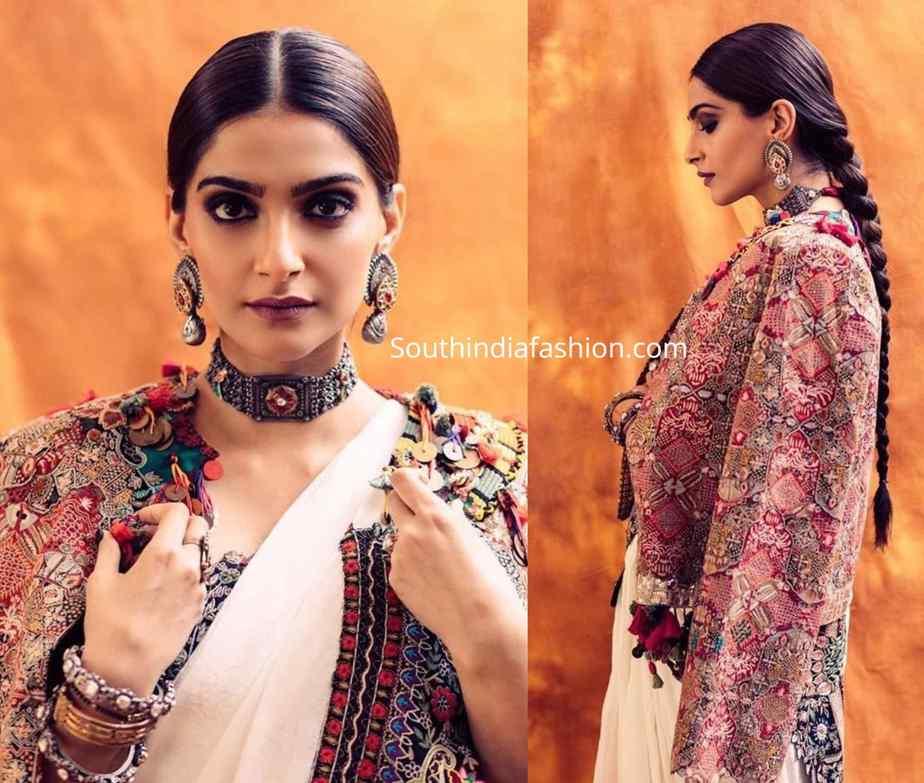sonam kapoor in anamika khanna saree with jacket (2)
