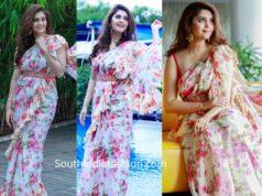 surabhi floral printed ruffle saree (2)