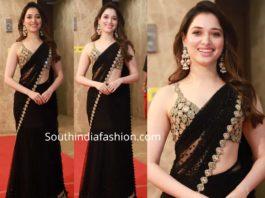 tamannaah bhatia black saree at ramesh taurani diwali party (1)