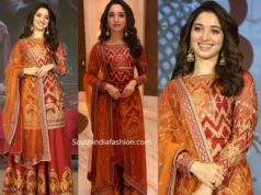 tamannaah in ritu kumar sharara suit at sye raa success meet