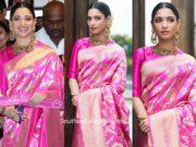tamannaah pink banarasi silk saree at malabar gold and diamonds launch (1)