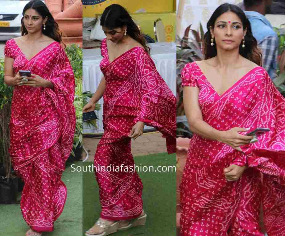 tanisha mukerji pink bandhani saree durga puja