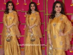 tisca chopra in mustard yellow sharara suit at ekta kapoor diwali party 2019