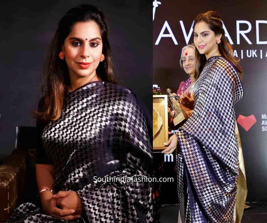 upasana konidela blue raw mango saree at mahatma awards