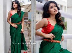 vani bhojan green saree with red belt